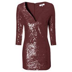 Buy True Decadence Long Sleeve Sequin Dress, Burgundy Online at johnlewis.com