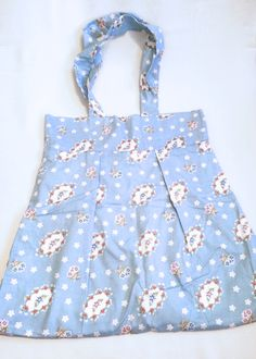Casual Tote Bag, Blue Floral Print, Shopper, Market Bag, Utility Tote, School Tote, Minimalist
