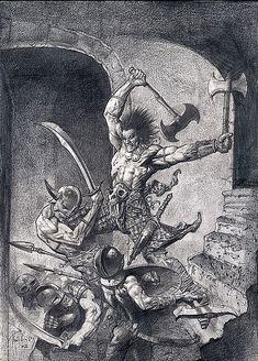 MacRoth taking on an opponent Simon Bisley, Fantasy Battle, Dark Fantasy, Illustrations, Illustration Art, Dcc Rpg, Comic Art Community, Figure Sketching, Conan The Barbarian