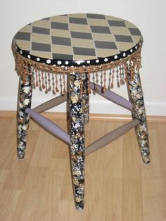 Designed by Lainie: Funky Hand-Painted Furniture with bead trim