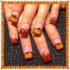 Fall leaves and pumpkins 2 by Oli123 - Nail Art Gallery nailartgallery.nailsmag.com by Nails Magazine www.nailsmag.com #nailart