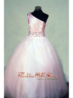 Beading Perfect Ball gown Tulle One Shoulder Floor-length Pink Little Girl Pageant Dresses  http://www.fashionos.com  http://www.facebook.com/quinceaneradress.fashionos.us  Look at this magnificent one-shoulder ball gown. Pleated bodice accented with lace up and beaded waistband. The full skirt flow to the end make the dress to be the one you dreamed for long time.
