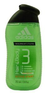 Adidas Active Start, Hair & Body 3, Shower Gel & Shampoo for Men, 8.4 Oz (Pack of 3) by adidas. $25.99. Simplify your routine with adidas '3 in 1' shower gel Body Hair Face! Make men's life easy with the new range of adidas multi benefits shower gels, using safe and innovative '3 in 1' formulas that hydrates your body, respects your face & conditions your hair. It's the perfect shower experience that an active man needs to start his day at the best, recover after an i...