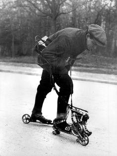 Mercier, inventor of the motor-driven roller skates, France 1912.