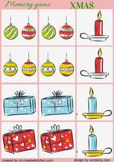 #CHRISTMAS ORNAMENT - #MEMORY GAME FREE PRINTABLE