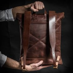 Cognac brown leather roll top backpack with front zip pocket. Top Backpacks, Brown Backpacks, Leather Backpacks, Leather Laptop Backpack, Men's Backpack, Cowhide Leather, Tan Leather, Roll Top, Smart Casual Outfit