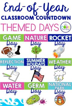 Survive the last 2 weeks of school by counting down with themed days.