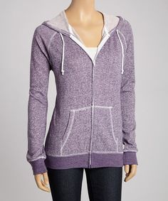 Take a look at the TROO Eggplant French Terry Zip-Up Hoodie - Women on #zulily today!