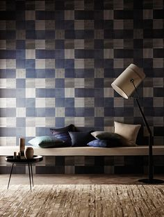 Shop for Wallpaper at Style Library: Bloc by Anthology. This wide-width wallpaper design displays a clever fusion of tessellating,. Modern Wallpaper, Home Wallpaper, Harlequin Wallpaper, Wallpaper Online, Designer Wallpaper, Blue Wallpapers, Paint Furniture, Fabric Design, Living Room Decor