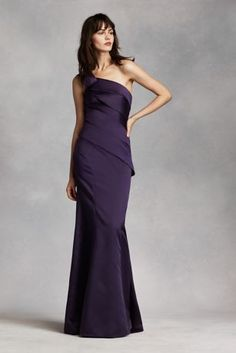 fe4eb5a73bac6 One-shoulder satin dress with raw-edge bias flange and asymmetrical skirt.  Long