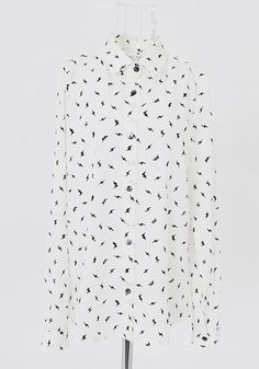 ++ White Lightning Print Long Sleeve Chiffon Blouse