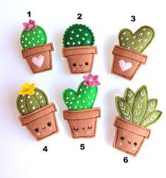 Felt cactus brooches handmade brooch choose your favorite - basteln Felt Crafts Diy, Felt Diy, Cute Crafts, Fabric Crafts, Crafts For Kids, Cactus Craft, Felt Decorations, Felt Brooch, Felt Patterns