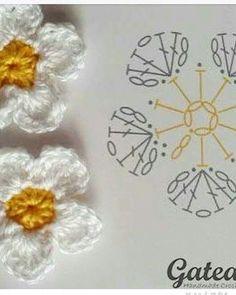 Crochet Jewelry Patterns, Crochet Hair Accessories, Crochet Motif Patterns, Crochet Diagram, Crochet Chart, Crochet Designs, Loom Patterns, Crochet Flower Tutorial, Crochet Flowers