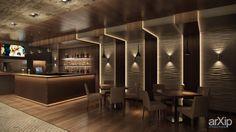 Интерьер ресторана с 3d панелью Surf: интерьер, современный, модернизм, open space, ресторан, кафе, бар, стена, 50 - 80 м2 #interiordesign #modern #openspace #restaurant #cafeandbar #wall #50_80m2 arXip.com