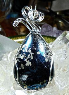 Wire Wrapped COVELLITE Pendant in Argentium by CrawfordStones