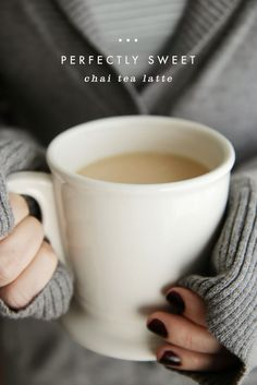 My Perfectly Sweet Chai Tea Latte Recipe | This Chai Tea Latte is easy, yummy, and just sweet enough to make me feel like I'm not totally missing out on dessert.  @apairofpears