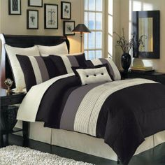 "Hudson Black Cal-King size Luxury 12 piece comforter set includes Comforter, bed skirt, pillow shams, decorative pillows, flat sheet, fitted sheet, standard pillowcases. by Royal Hotel. $119.99. 1- Cal-King Bed Skirt 72"" x 84"" with 15"" Drop 2- King Pillow Shams 20 x 36"" each. 2- Euro Pillow Shams 26"" x 26"" each.. Comforter Material : 100% Polyester, Sheets Color & Material : White 100% Microfiber : Mashine wash. 1- Decorative Pillow 12"" x 18"" 1- Decorative Pillow..."