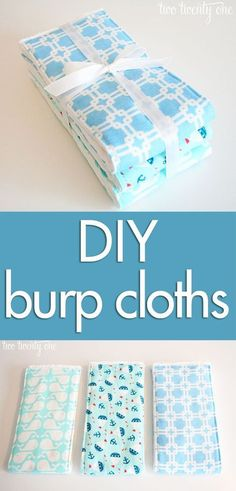 How to make DIY burp cloths with this step-by-step tutorial with detailed photos! DIY burp cloths are great baby shower gifts!sewing ideas for babies DIY burp cloths! Perfect handmade gift and easy to sew! - DIY baby onesies and burp cloths tutorial! Baby Sewing Projects, Sewing For Kids, Sewing Crafts, Sewing Ideas, Sewing Diy, Baby Quilt Tutorials, Sewing Hacks, Baby Toys, Burp Cloth Tutorial
