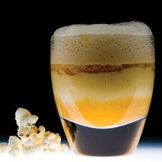 The liquid popcorn with caramel froth is a surprising drinkable dessert created by Grant Achatz of Alinea. It is quite sweet and it is best served warm in a shot glass.