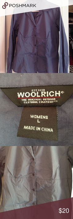 Woolrich women's blouse large Woolrich women's blouse. Empire waist fitted long sleeves like new size large. Slate blue color Woolrich Tops Blouses