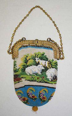 Purse- Date: 19th century Culture: French Medium: glass, metal, silk