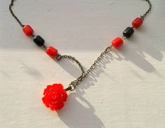 Red Rose Necklace Vintage Lucite Flower and Red and by RosieMays