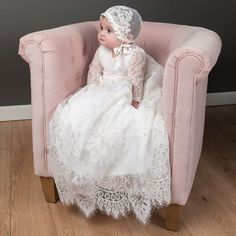 Victoria Heirloom Christening Gown - Vintage Girls lace Baptism gown – Baby Beau and Belle Christening Gowns For Girls, Baby Girl Baptism, Christening Outfit, Baptism Dress, Baby Christening, Baptism Party, Baby Blessing Dress, White Lace Gown, Baptisms