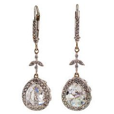 Rose-Cut Diamond Gold Drop Earrings | From a unique collection of vintage dangle earrings at https://www.1stdibs.com/jewelry/earrings/dangle-earrings/