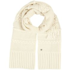 UGG Cable Fringe Scarf (Ivory) ($95) ❤ liked on Polyvore featuring accessories, scarves, ugg scarves, ivory shawl, fringe shawl, cable knit scarves and fringe scarves