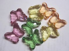 Chunky bead clear colorful acrylic butterfly 20x30mm by Vinkeli, $0.80