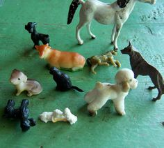these are all very very cute little dogs, a cat, a cow and horses made in taiwan from 1/2 to 2 1/2 10 count all made of plastic
