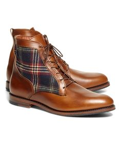 Leather and Signature Tartan Boots - Crafted from genuine leather with a Brooks Brothers signature tartan panel. Made in the USA. Brown Leather Boots, Leather Men, Mens Brogue Boots, Mens Boot, Dress With Boots, Dress Shoes, Best Shoes For Men, Shoes Men, Men's Shoes