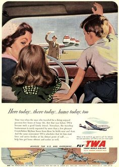1952 Twa Airlines Papa Coming Home To Famille Art Vintage Imprimé Annonce Retro Advertising, Retro Ads, Vintage Advertisements, Vintage Ads, Vintage Airline, Travel Ads, Air Travel, Travel And Tourism, Poster Ads
