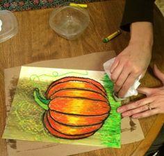 "First Grade ""Oiled"" Oil Pastel Pumpkins"