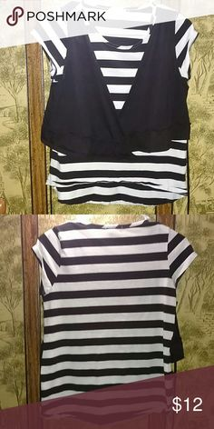 Black and white striped top This is a shirt from Kohl's. I've only worn it once and it's very comfortable! Needs to go! Offers available! Self Esteem Tops