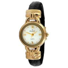 Peugeot Women's 780BK Gold-Tone Black Leather Cuff Watch Peugeot. $49.99. Easy to read dial with roman numerals. Easy fit flex bangle. Genuine leather wrapped cuff. Lifetime manufacturers warranty. Water-resistant to 99 feet (30 M)