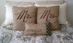 Wedding Gift Set 1 Personalized Family Name Pillow Cover with Mr. & Mrs. Pillow Covers, Handmade from a Recycled Coffee Sack via Etsy