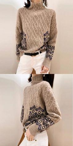 Women's Wool Sweater Fashion sweater and cardigan, fall & wi. - Women's Wool Sweater Fashion sweater and cardigan, fall & winter style . Knit Fashion, Sweater Fashion, Fashion Outfits, Womens Fashion, Fashion Trends, Style Fashion, Fashion Inspiration, How To Wear Jeans, Cool Sweaters