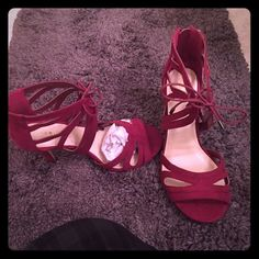 NWT Torrid Maroon Strappy Peep Toe Heels Beautiful maroon strappy heels by torrid. Heel is approximately 3.5 inches. Absolutely gorgeous for spring and summer. Brand new in box. torrid Shoes Heels