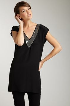 Tt Collection Black Silk Kayla V-Neck Silver Sequin Trim Tunic