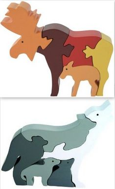 Imagiplay Moose Wolf Baby Wood Family Wooden Preschool Large Piece 2 Puzzles New