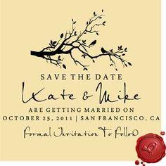 SAVE THE DATE Birds on Branch Wedding DIY Stamp #6006