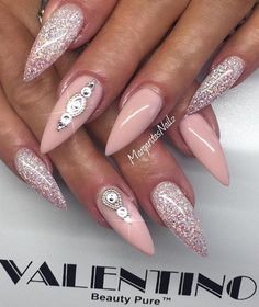 Pink and bling nails