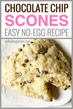 These chocolate chip scones require no egg or egg substitute. And they are done in 45 minutes, easy peasy. We also make them dairy-free for our food allergies. See recipe and video at Milk Allergy Mom and let us know how they go! Egg Free Desserts, Egg Free Recipes, Allergy Free Recipes, Köstliche Desserts, Milk Recipes, Baking Recipes, Dessert Recipes, Desserts With No Eggs, Eggless Desserts