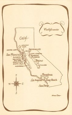 vintage california map - Google Search