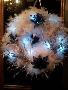 A christmasy Feather boa wreath with LED lights