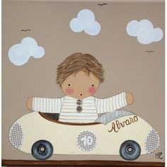 Cuadro artesanal - niño en coche crema de bebe BB the countrybaby | BB the countrybaby