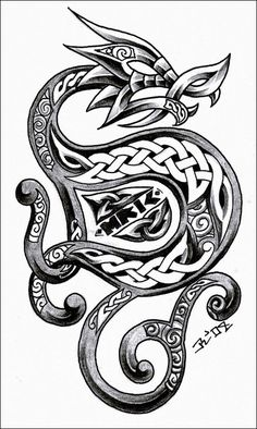 another celtic dragon. last one this year celtic dragon 3 Viking Dragon Tattoo, Celtic Dragon Tattoos, Dragon Tattoo Designs, Tattoo Celtic, Tribal Dragon, Dragon Art, Celtic Symbols, Celtic Art, Celtic Knots