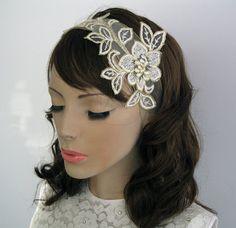 Lace applique bridal ribbon headband daffodil by MammaMiaBridal, $43.00