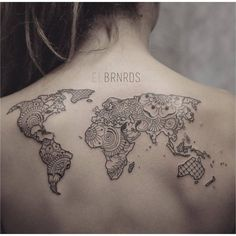 35 best world map tattoo ideas for travel lovers pinterest map creative map tattoos for the traveling type gumiabroncs Gallery